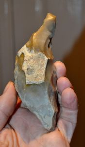 A large, well worked and excellent Mesolithic flint hand pick from Kent. SOLD